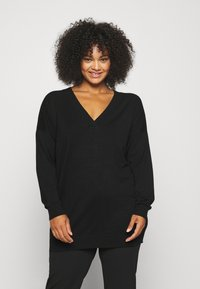 CAPSULE by Simply Be - SLOUCHY V NECK  - Jumper - black - 0