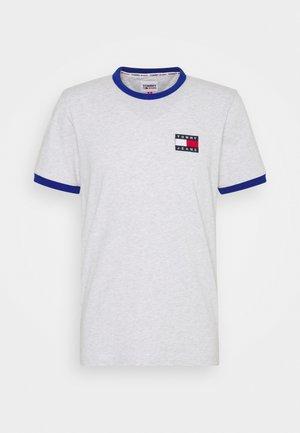 Print T-shirt - silver grey/cobalt