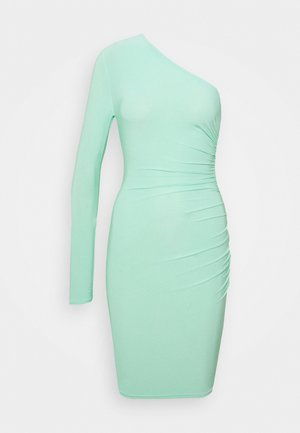 SLINKY ONE SLEEVE RUCHED MINI DRESS - Vestito di maglina - green