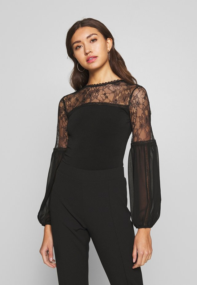BODY WITH PUFF SLEEVE - Top s dlouhým rukávem - black