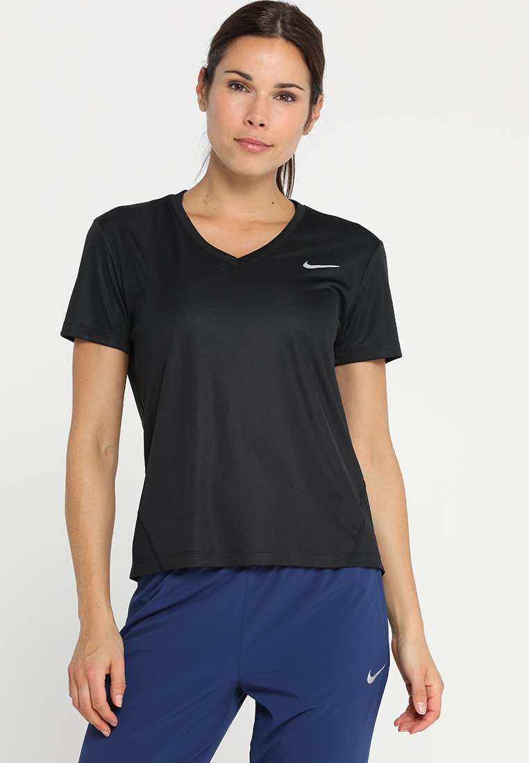Nike Performance - MILER V NECK - Print T-shirt - black/reflective silver
