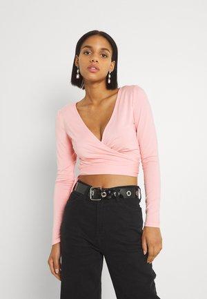 WRAP CROP - Long sleeved top - peachy pink