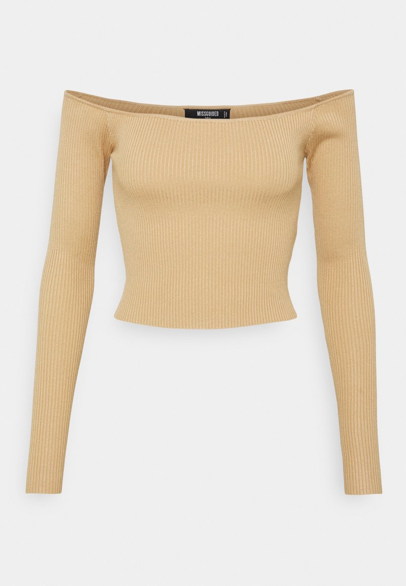 Missguided Tall - CROPPED JUMPER - Long sleeved top - camel