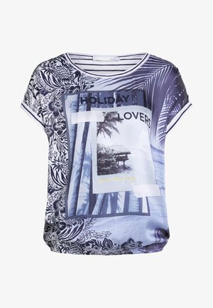 Print T-shirt - white blue