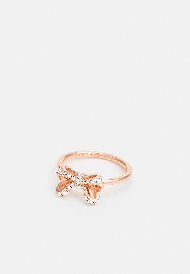 CASSSRA PETITE BOW RING - Anello - rose gold-coloured/crystal