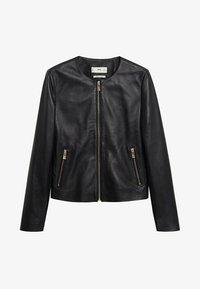 Mango - FELIPAR - Leather jacket - schwarz - 6