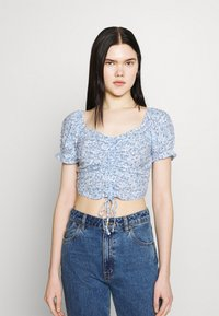 Hollister Co. - CINCH TIE - Camiseta estampada - white/blue - 0