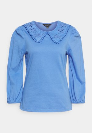 EMBROIDERED COLLAR  - Long sleeved top - blue