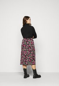 Simply Be - FLORAL MIDI SKIRT - A-line skirt - black