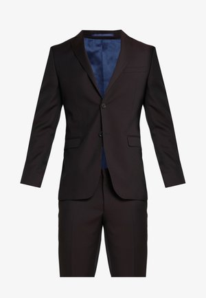 SLIM FIT SOLID SUIT - Suit - bordeaux