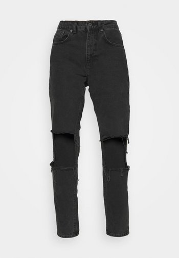 CHARCOAL SQUARE CUT OUT KNEE JEAN