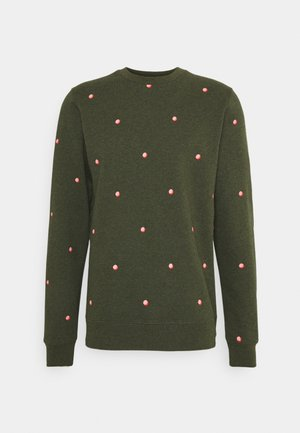 CREW NECK WITH SMALL ALLOVER PRINT - Sweatshirt - dark green/light pink
