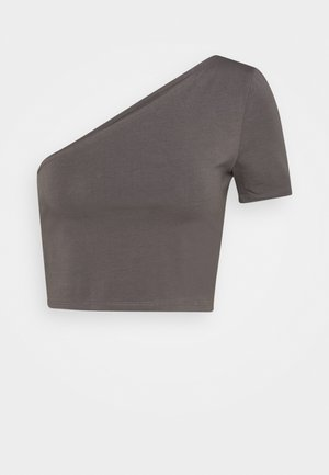 ONE SHOULDER CROP TEE - Basic T-shirt - off black
