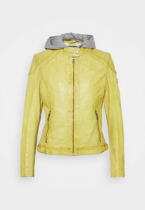 ABBY - Leather jacket - pastel yellow