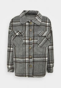 Missguided Petite - BRUSHED CHECK SHACKET - Button-down blouse - grey - 0