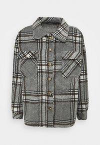 Missguided Petite - BRUSHED CHECK SHACKET - Skjorte - grey - 0