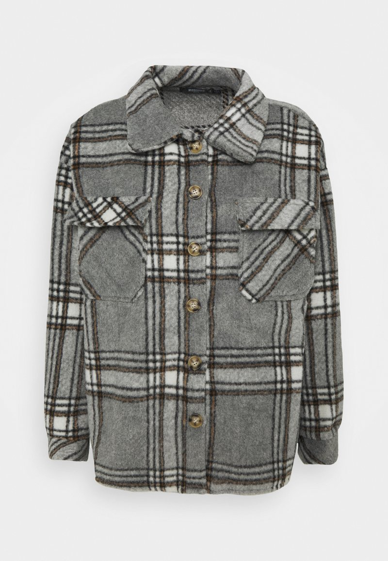 Missguided Petite - BRUSHED CHECK SHACKET - Button-down blouse - grey