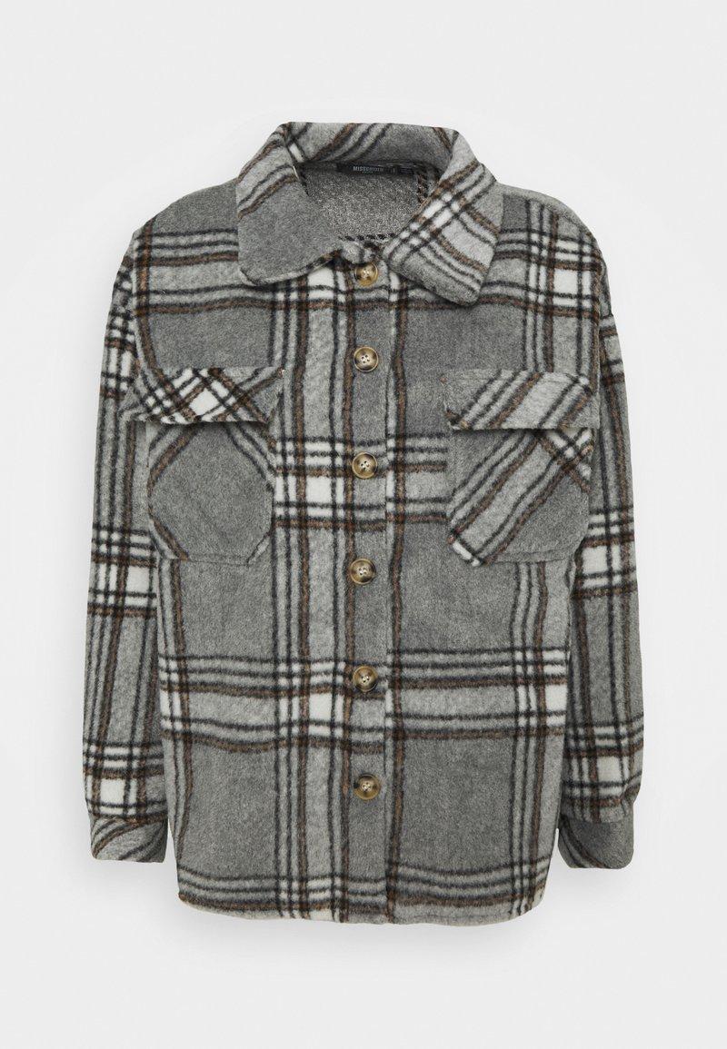 Missguided Petite - BRUSHED CHECK SHACKET - Skjorte - grey