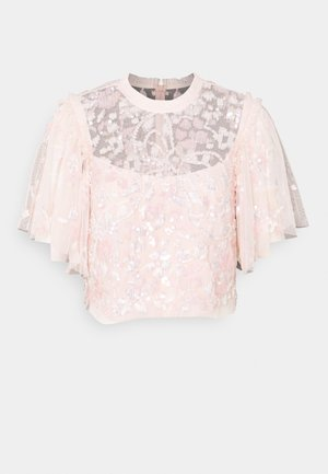 SEQUIN RIBBON TOP - Bluse - pink encore