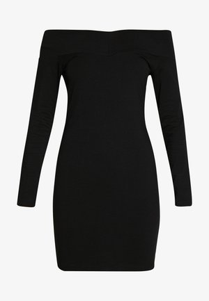 BASIC - OFF-SHOULDER MINI LONG SLEEVES DRESS - Fodralklänning - black