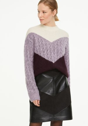 Jumper - dark lilac colorblock knit