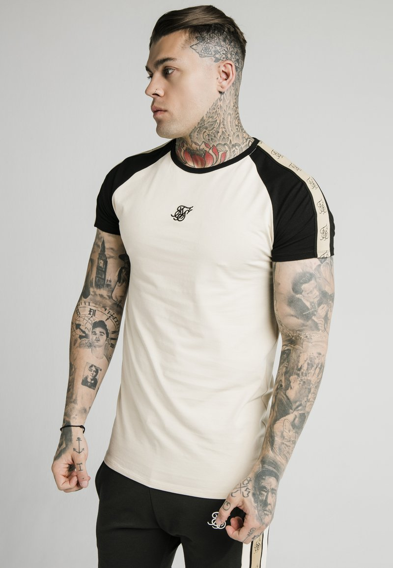 SIKSILK - T-shirt con stampa - ecru & black