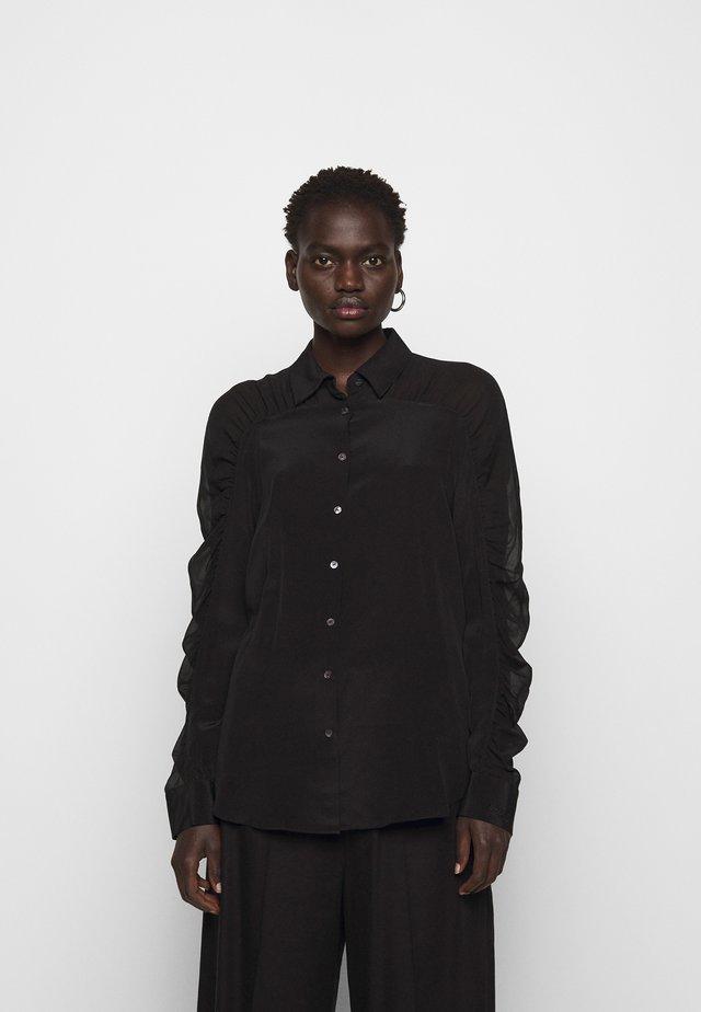 BLOUSE GATHERING - Button-down blouse - black