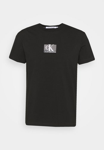 SMALL BOX STRIPE TEE UNISEX - T-shirt med print - black