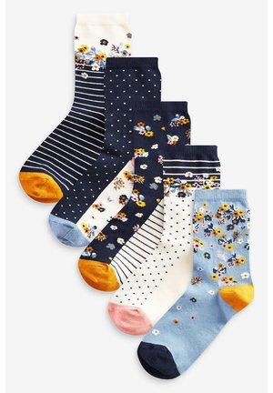 FLORAL ANKLE SOCKS 5 PACK - Socks - blue