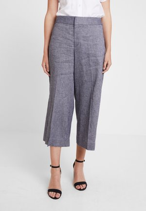 HIGH RISE WIDE LEG CROP - Trousers - preppy navy