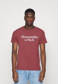 Abercrombie & Fitch - 3 PACK - T-shirt med print - white/navy/red - 3