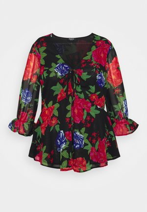 PRINTED LAYERED ADJUSTABLE TIE FRONT - Blouse - red