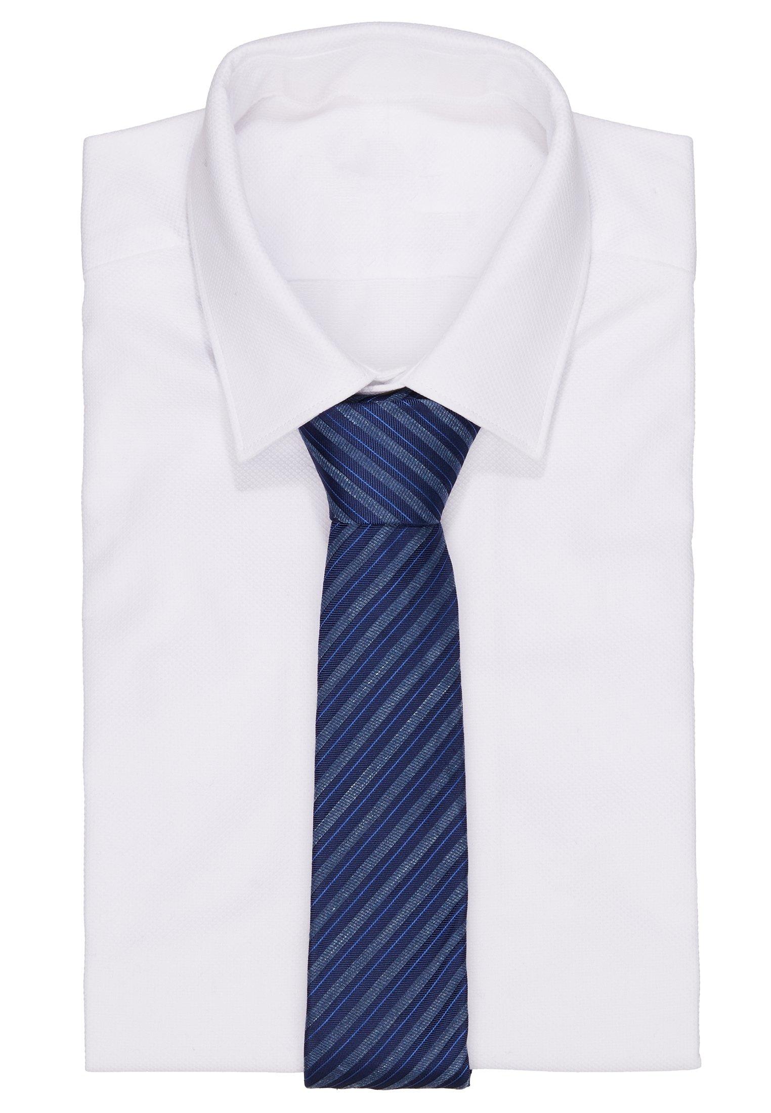 Calvin Klein Bold Season Duo Stripe Tie - Krawat Navy