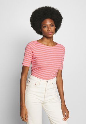 SHORT SLEEVE BOAT NECK STRIPED - T-shirts med print - multi/salty peach