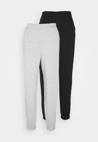 Missguided Petite - 2 PACK BASIC JOGGERS - Tracksuit bottoms - grey marl/black - 4