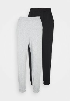 2 PACK BASIC JOGGERS - Tracksuit bottoms - grey marl/black