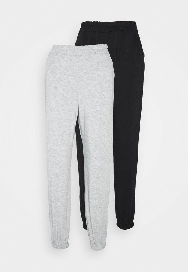 2 PACK BASIC JOGGERS - Verryttelyhousut - grey marl/black