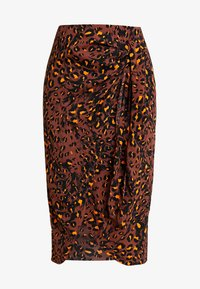 BRUSHED LEOPARD SARONG SKIRT - Pencil skirt - brown/multi