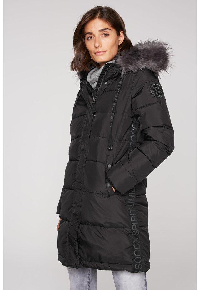 MIT KAPUZE UND LOGO-TAPE - Winter coat - black