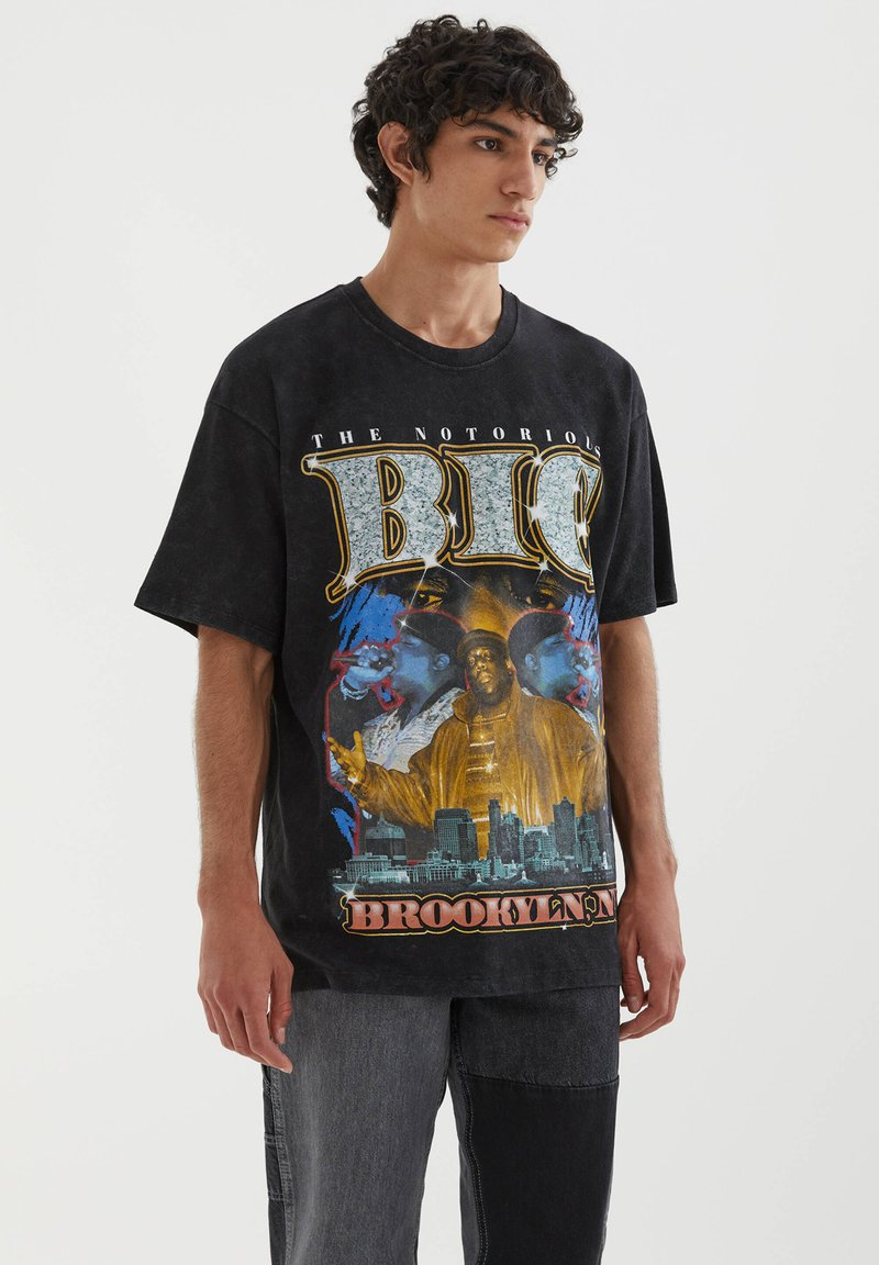 PULL&BEAR - THE NOTORIOUS B.I.G - T-shirt con stampa - mottled black
