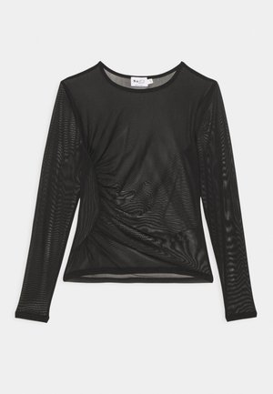 ASYMMETRIC GATHERED - Long sleeved top - black