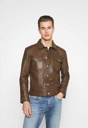 WORKWEAR TRUCKER - Leren jas - brown