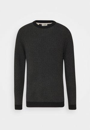 SLHAIDEN CREW NECK  - Sweter - medium grey melange/black