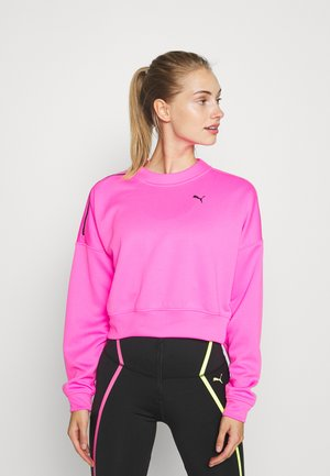 TRAIN BRAVE ZIP CREW - Felpa - luminous pink
