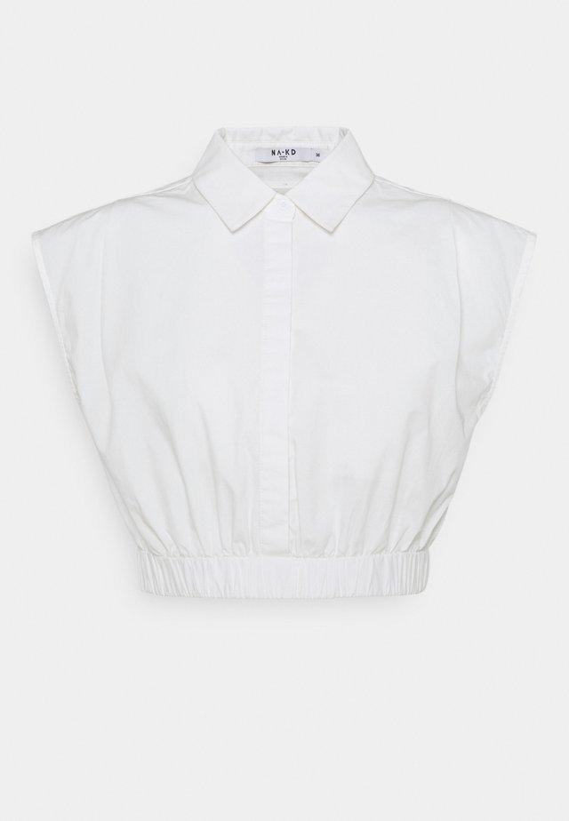 CROPPED WIDE SHOULDERS - Košile - white