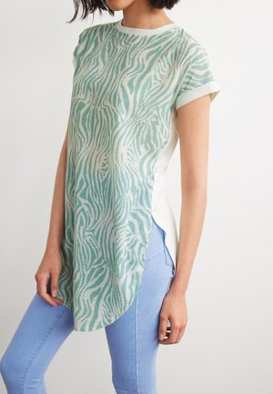 LONGLINE  - Print T-shirt - green/white