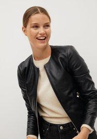 Mango - FELIPAR - Leather jacket - schwarz - 0