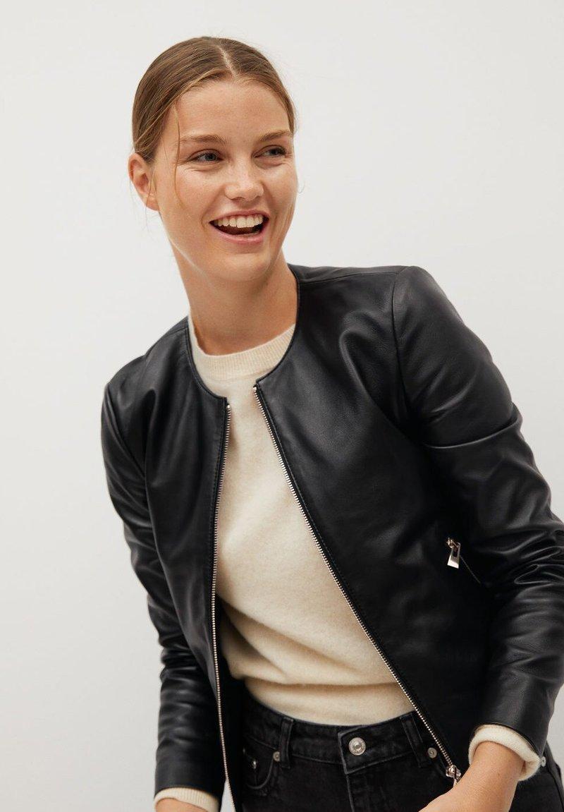 Mango - FELIPAR - Leather jacket - schwarz