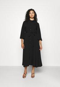 NU-IN - KIMONO SLEEVE BELTED MIDI DRESS - Shirt dress - black - 0