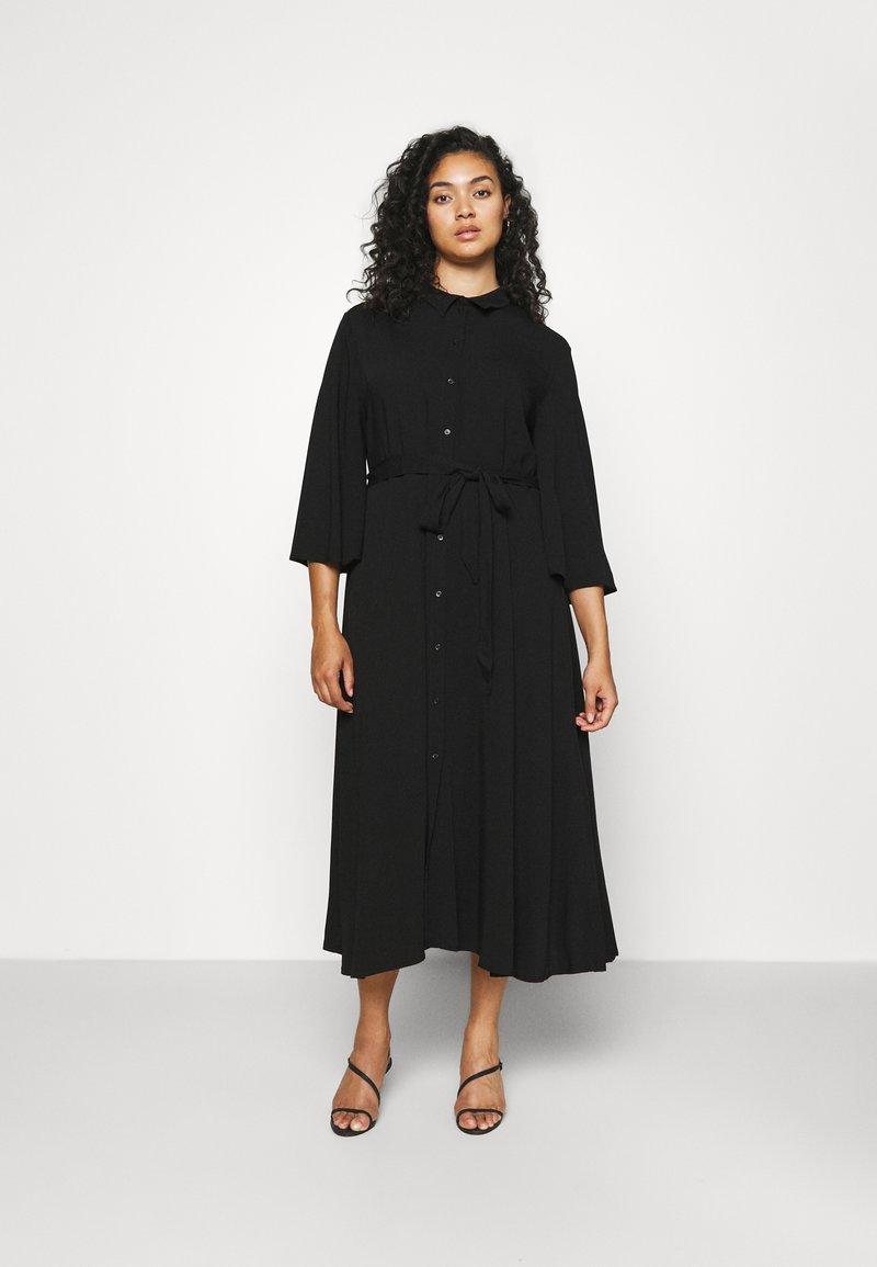 NU-IN - KIMONO SLEEVE BELTED MIDI DRESS - Shirt dress - black
